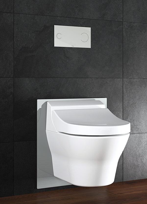 Stelaż do toalet myjących Viega Eco Plus jest przygotowany do montażu popularnych  na rynku toalet i desek myjących.  Dzięki ściąganej szklanej płytce urządzenia te można bez problemu zainstalować również w późniejszym etapie
