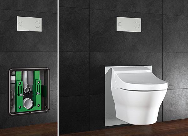 Nowy stelaż Viega Eco Plus do toalet myjących jest fabrycznie przystosowany do podłączenia wody i zasilania elektrycznego