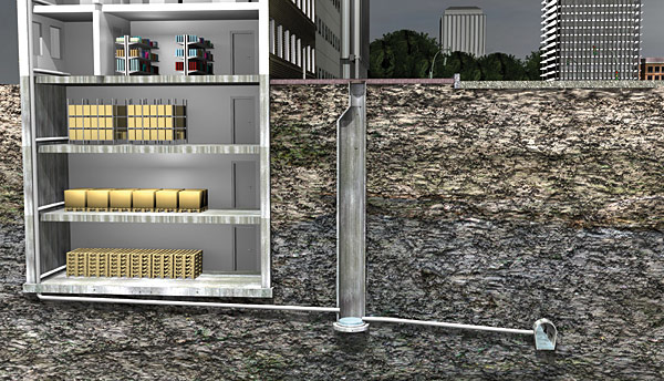 Rys. 1. Tradycyjne rozwiązanie grawitacyjne z głęboko położonymi rurami kanalizacyjnymi