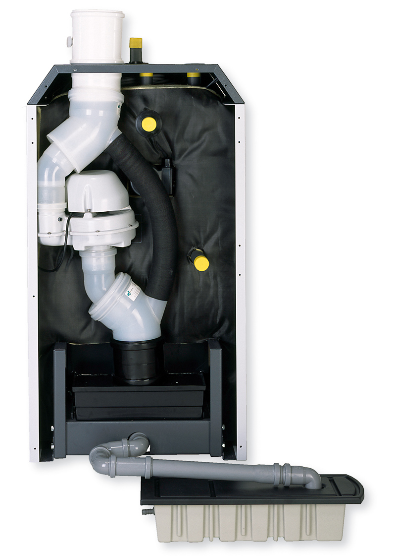 Tylna część kotła z izolacją i pojemnikiem wypełnionym granulatem uwodnionego tlenku magnezu,do neutralizacji kondensatu