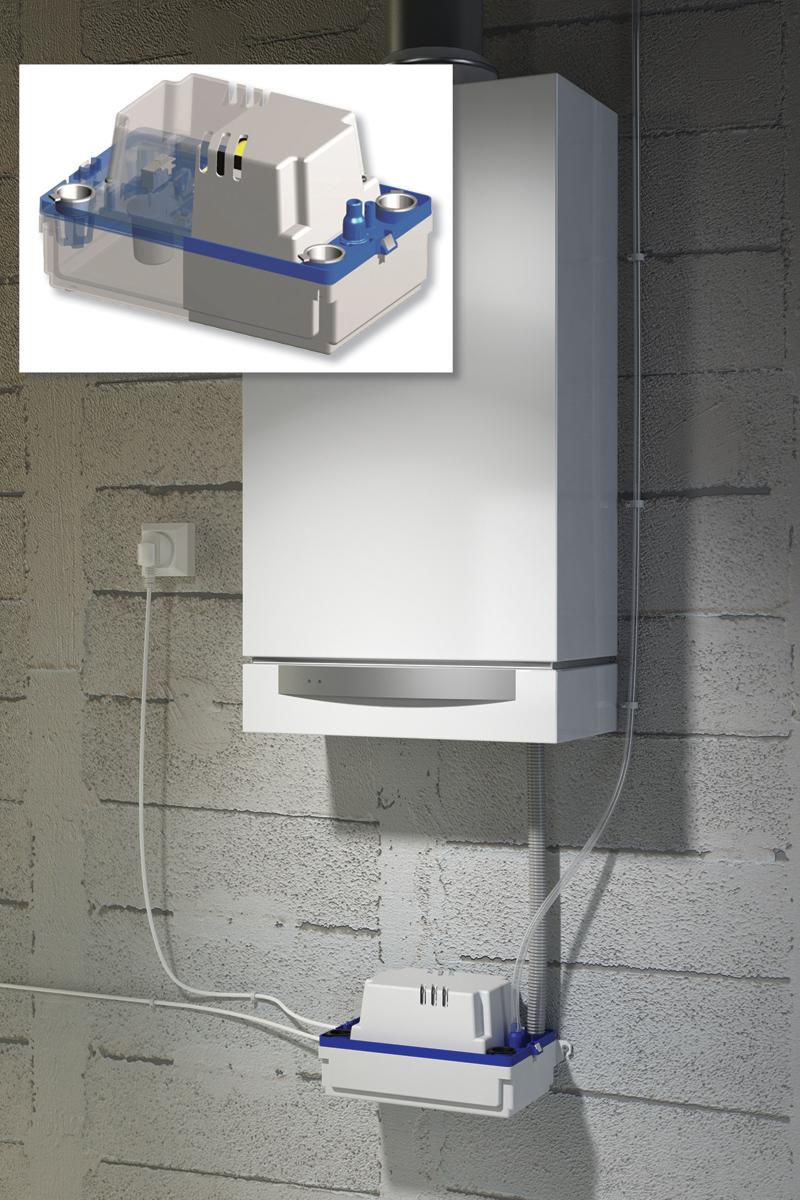 Rys. 7. Sanicondens Plus pozwala na przetłaczanie kondensatu do 4,5 m w górę i do 50 m w poziomie