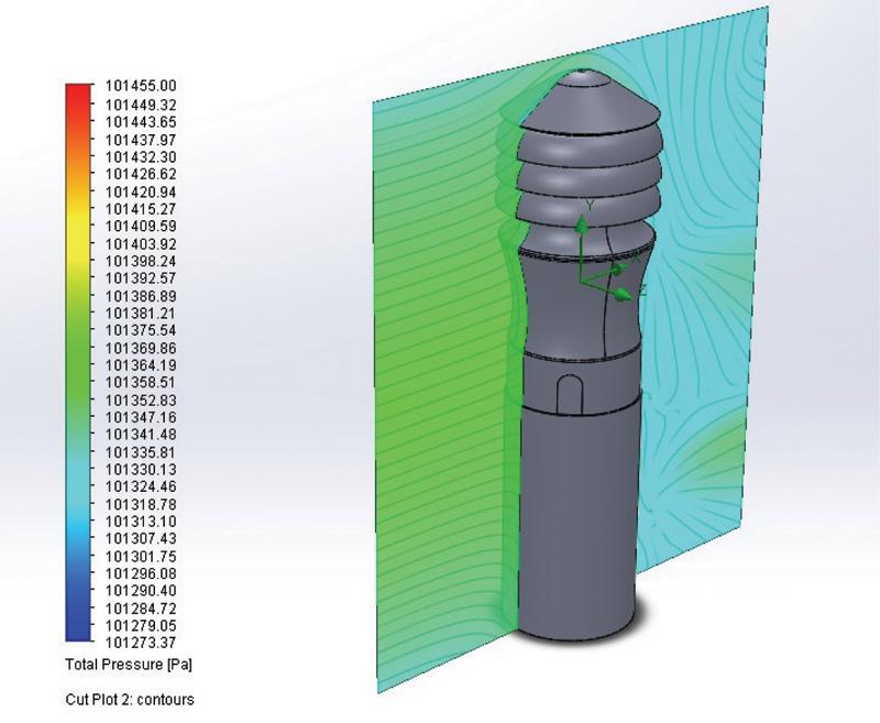 Rys. 2. Aksjonometryczny schemat badanego modelu wywietrznika Zefir-150/M z zaznaczonym przekrojem poddanym analizie modelowej ciśnienia