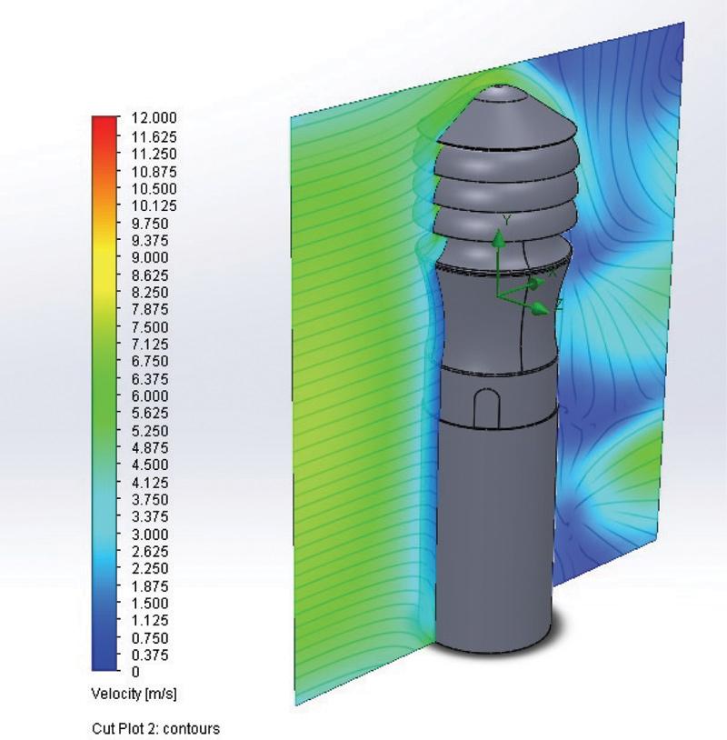 Rys. 3. Aksjonometryczny schemat badanego modelu wywietrznika Zefir-150/M z zaznaczonym przekrojem poddanym analizie modelowej prędkości powietrza