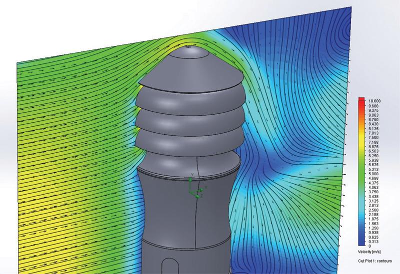 Rys. 4. Wizualizacja prędkości powietrza oraz występujących stref przyspieszeń i kierunków w bezpośredniej bliskości zamontowanego wywietrznika