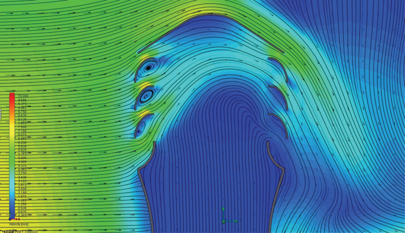 Rys. 5. Wpływ działania poziomej strugi wiatru na prędkość powietrza w korpusie wywietrznika. Widoczna strefa przyspieszenia strugi oraz turbulencje na żaluzji od strony kierunku naporu wiatru