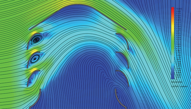 Rys. 6. Linie strugi oraz miejsca występowania turbulencji w przestrzeni żaluzyjnej wywietrznika