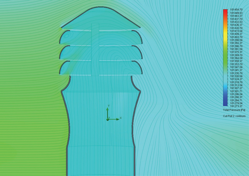 Rys. 7. Wizualizacja poziomu ciśnienia w przestrzeni wywietrznika w strudze omywającego go wiatru