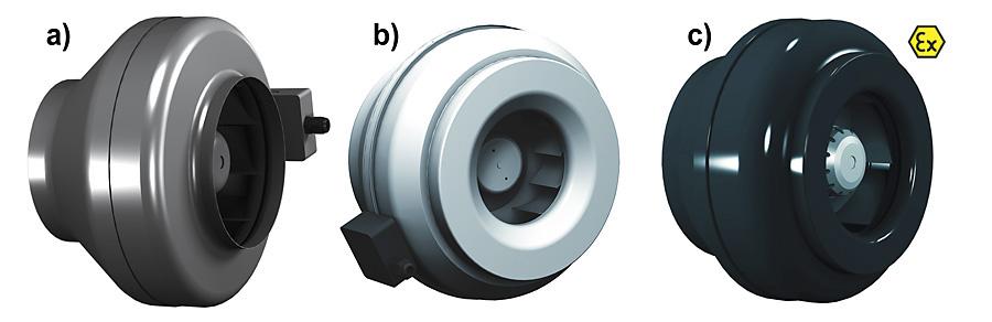 Rys. 1. Wentylatory typu R: a – z silnikiem AC, b – z silnikiem EC, c – w wersji przeciwwybuchowej