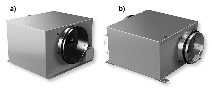 Rys. 3. Wentylatory typu Zerobox:  a – wersja Evolution / Revolution, b – wersja Ultimate