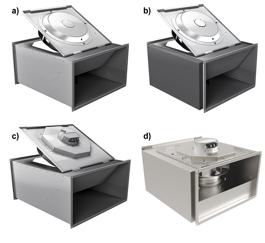 Rys. 5. Wentylatory typu KHA: a – z silnikiem AC,  b – z silnikiem AC i izolacją akustyczną,  c – z silnikiem EC,  d – z silnikiem EC i izolacją akustyczną