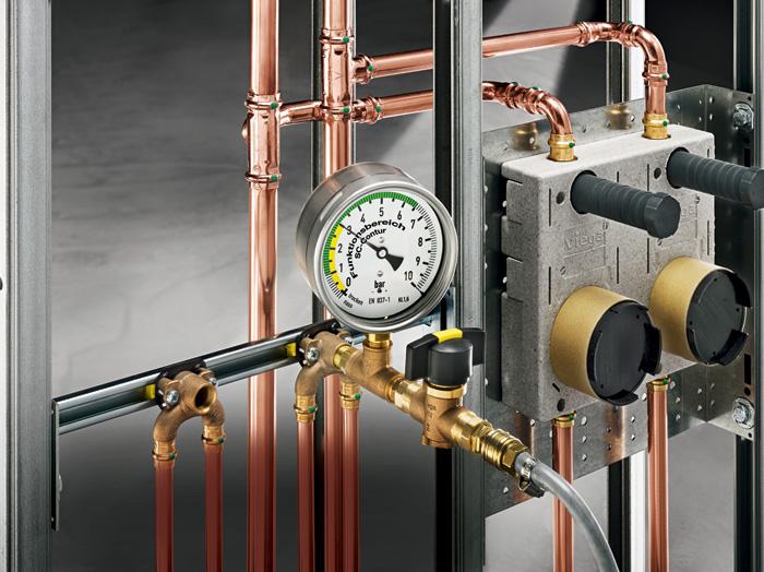 Wymuszona nieszczelność złączek z oferty Profipress z profilem SC-Contur jest zapewniona na wszystkich etapach próby ciśnieniowej