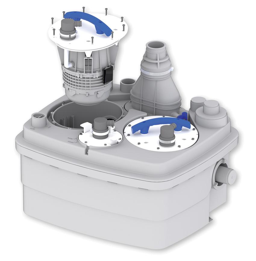 W nowych urządzeniach z serii Sanicubic, wymiana silników i systemu załączania odbywa się bez konieczności odłączania elementów zbiornika