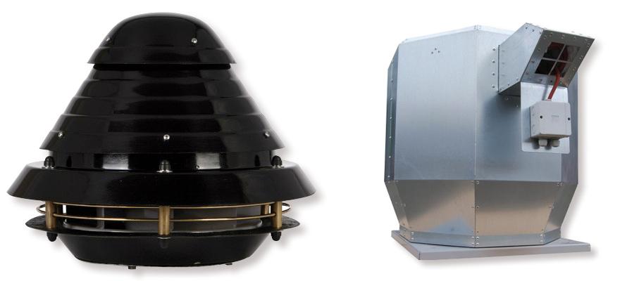 Wentylator dachowy przeciwwybuchowy (z lewej) i oddymiający firmy Juwent